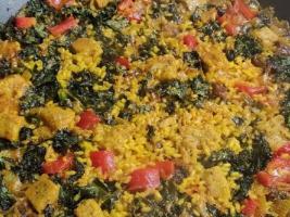 arroz con kale tofu de garbanzos calabizo pimiento rojo gilbert
